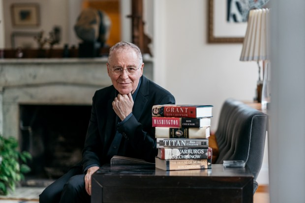 """Ron Chernow in his Brooklyn Heights home. The author of numerous lengthy biographies, most notably """"Hamilton,"""" has written a 1,074-page book on Ulysses S. Grant."""