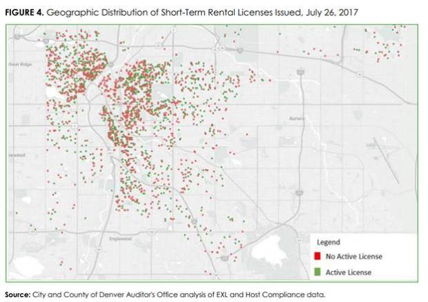 A Denver Auditor's Office map showing short-term rental advertisements in Denver versus where licenses were issued.