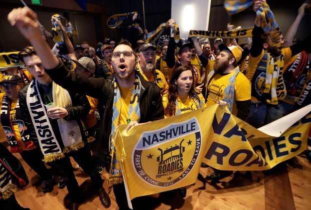 Nashville, Tenn. soccer fans celebrate during ...