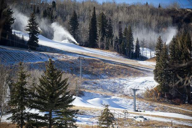 Aspen Skiing Co. was able to make snow at Buttermilk Tuesday but the lower slopes remain brown. Skico officials will announce later this week if Aspen Highlands and Buttermilk will open as scheduled on Saturday.