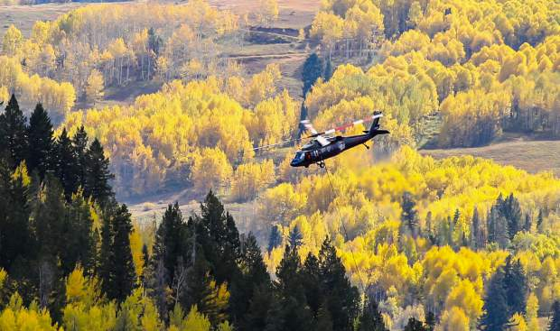 A helicopter makes passes during the Vail Intermountain Fuels Project on Friday, Sept. 29, in West Vail.