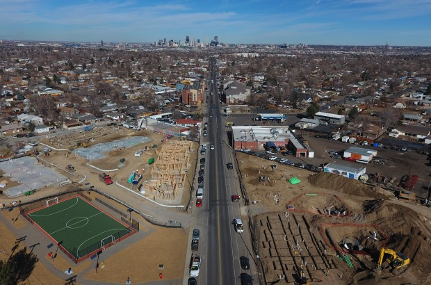 New apartment buildings are being built along Morrison Road in the Westwood neighborhood in Denver, Feb. 6, 2017.