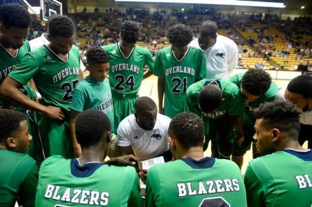 Overland boys basketball coach Danny Fisher, shown here coaching up his team during the 2016 state tournament, leads the No. 8 Blazers into a Centennial League showdown against No. 6 Grandview on Wednesday.