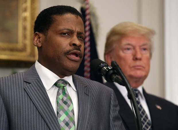 Isaac Newton Farris Jr. speaks before U.S. President Donald Trump signs a proclamation to honor Martin Luther King Jr. on Friday at the White House.