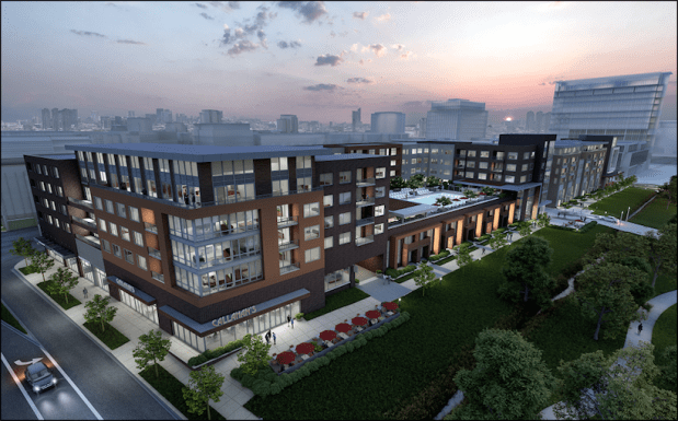 A rendering of the Ascent Apartment project that broke ground last August as part of the Downtown Westminster redevelopment project.
