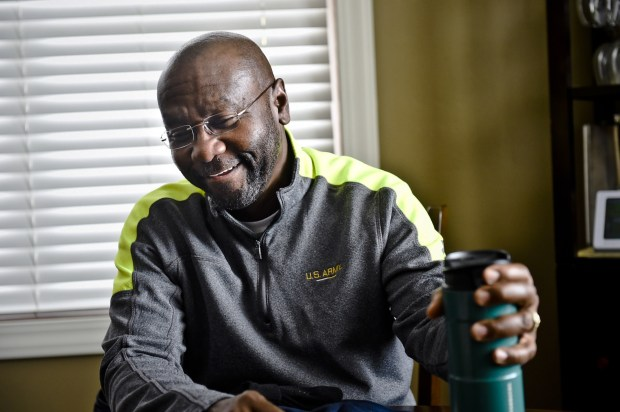 Wilmot Collins, newly elected mayor of Helena, Mont., speaks with the press on Nov. 8 at his home. Collins is a former refugee who fled his native Liberia in 1994.
