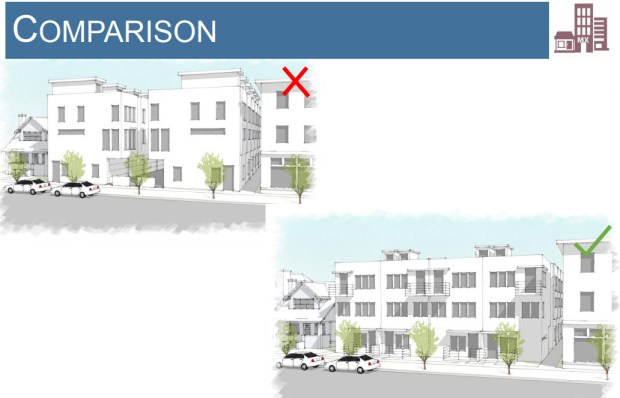 "A comparison provided by the Denver planning department shows a typical ""slot"" home development (upper left) and a version that incorporates proposed zoning rules."