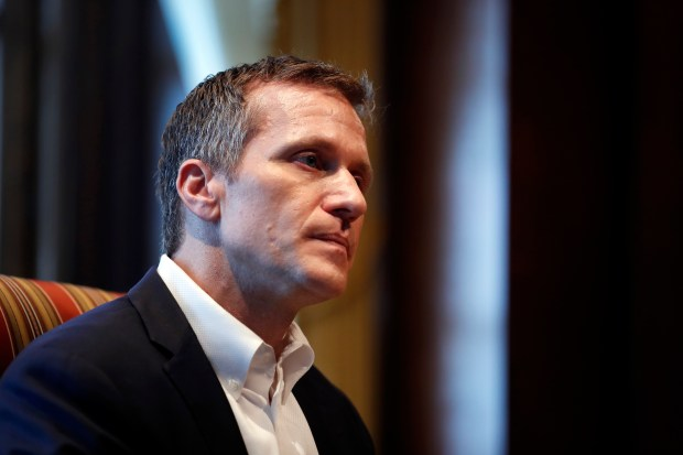 Missouri Gov. Eric Greitens listens to a question during an interview in his office at the Missouri Capitol on Jan. 20.