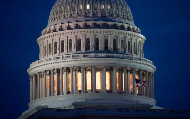 The U.S. Capitol Building is seen at dusk on Feb. 6.