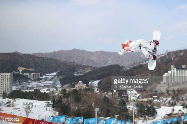 Chloe Kim qualifies first for for United States at the Snowboard Ladies' Halfpipe qualification competition at Phoenix Snow Park on February 12, 2018 in BongPyeong, South Korea. (Photo by Tim Clayton/Corbis via Getty Images)