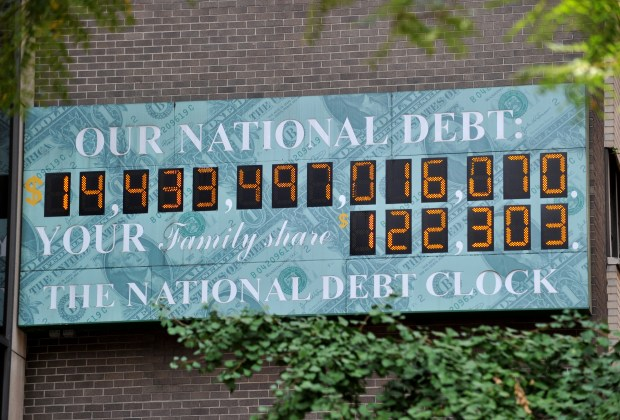 The National Debt Clock, a billboard-size digital display showing the increasing U.S. debt, is seen in New York on Aug. 1, 2011. The national debt has since risen to more than $20 trillion.