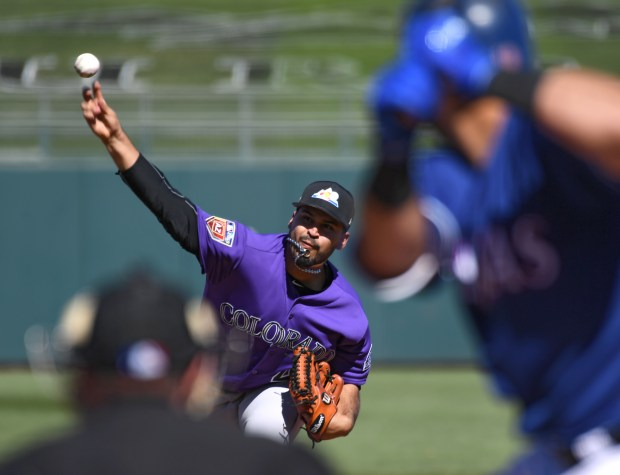 Colorado Rockies pitcher Antonio Senzatela (49) ...