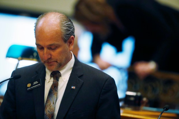 State Rep. Steve Lebsock of Thornton listens during debate last Friday over whether to expel him from the Colorado legislature after five women accused him of sexual misconduct. Lebsock was ousted in a 52-9 vote.