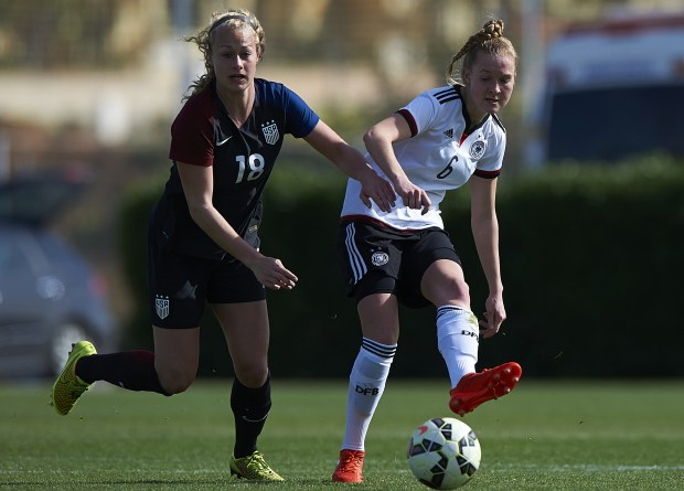 Germany's Janina Minge competes for the ball with Jaelin Howell during the international U19 friendly match on March 5, 2017 in Spain. Howell, a Fossil Ridge senior, is committed to play at Florida State and is one of U.S. Soccer's best and up-and-coming national team players.