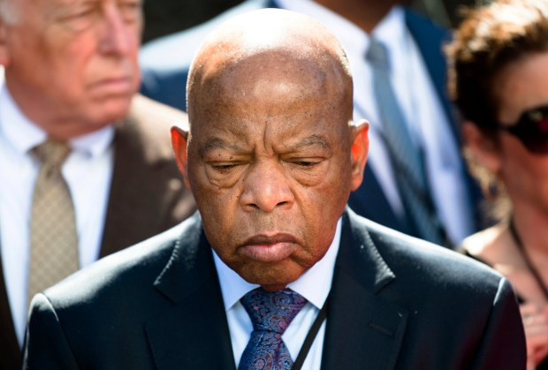 Congressman John Lewis looks on at the Civil Rights Memorial during a wreath-laying ceremony in Montgomery, Ala., last Saturday.