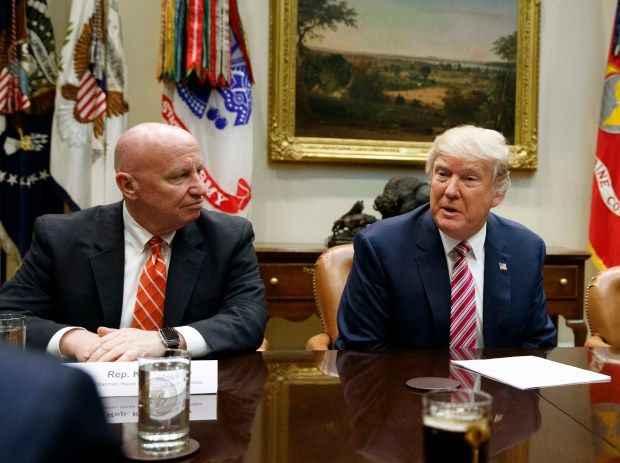 Rep. Kevin Brady and President Donald Trump attend a meeting at the White House on March 10.