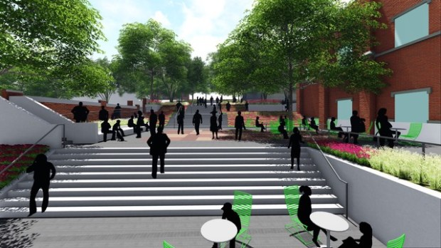An artist's rendering shows what the proposed public plaza near Calvary Church in Golden might look like.