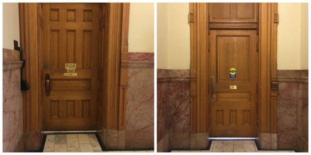 On the left, an unmarked bathroom for women just outside of the Colorado Senate's floor. A few feet away is an unmarked bathroom for men, pictured right.