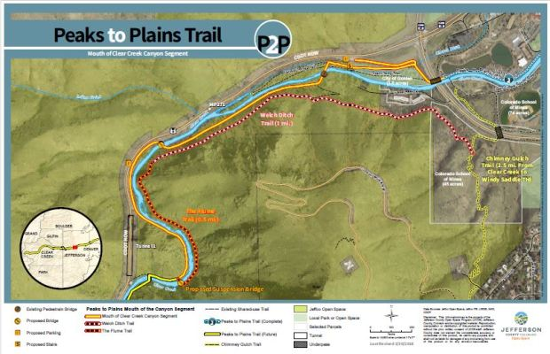 A map of the next phase of the Peaks to Plains Trail project includes updates to Welch Ditch Trail and The Flume Trail.