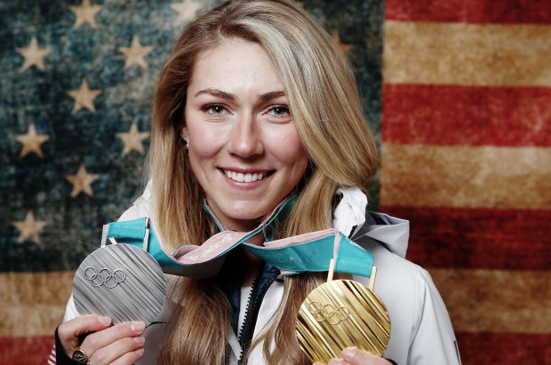 """Mikaela Shiffrin of the United States poses for a portrait with her two medals on the """"Today Show"""" set on Feb. 22, 2018 in Gangneung, South Korea."""