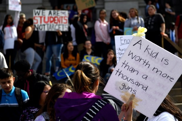 High school students at the Colorado State Capitol in Denver join schools across the nation with walkouts/gun violence protests on the one month anniversary of the Parkland, Florida shooting, March 14, 2018.