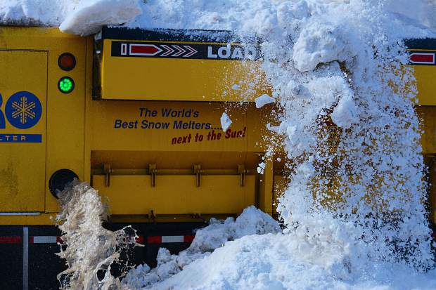 Aero Snow Removal Corp. puts on a live demonstration featuring one of its snow melters Thursday at the Stilson Lot, off Wellington Road, in Breckenridge.