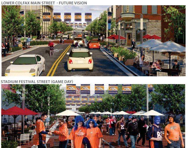 Renderings from the city of Denver's 2013 Decatur-Federal Station Area Plan show conceptual ideas for an entertainment district south of Sports Authority Field. Those ideas could evolve in an upcoming master plan process.