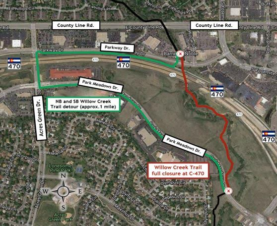 The Colorado Department of Transportation will conduct a full closure of northbound and southbound Willow Creek Trail at C-470.