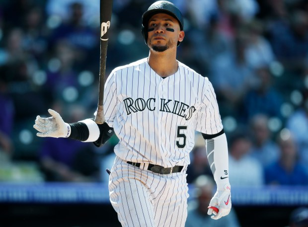 Colorado Rockies' Carlos Gonzalez tosses his ...