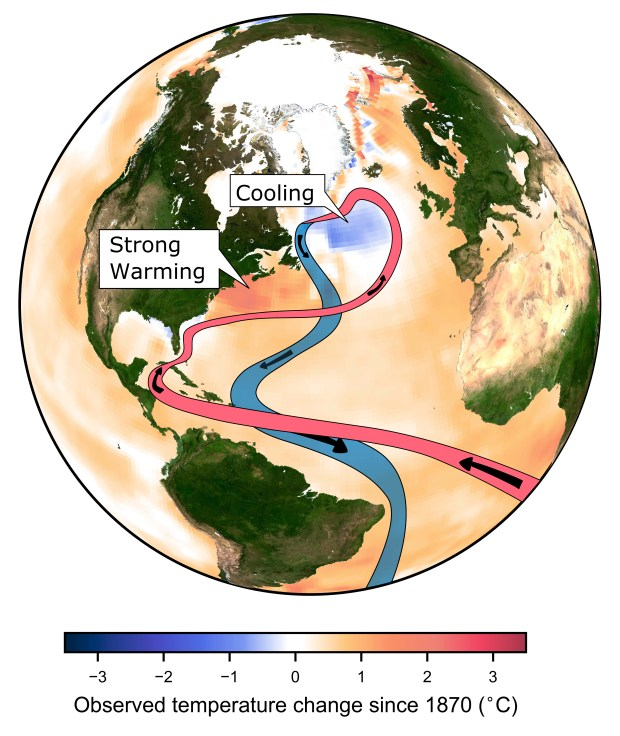 This image provided by the Potsdam Institute for Climate Impact Research in April 2018 shows observed ocean temperature changes since 1870, and currents in the Atlantic Ocean. A study released on Wednesday, April 11, 2018 suggests global warming is likely slowing the main Atlantic Ocean circulation, which has plunged to its weakest level on record.