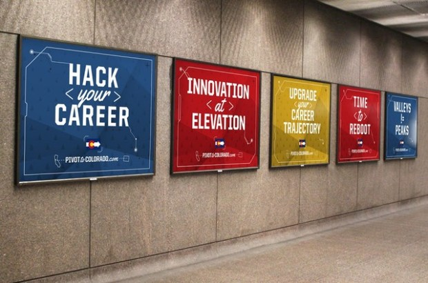 The new Pivot to Colorado campaign, sponsored by state agencies and local tech firms, is spending a half million dollars on marketing to attract Bay Area tech workers to the state. Shown is a rendering of what the ads would look like at a public transportation BART station.