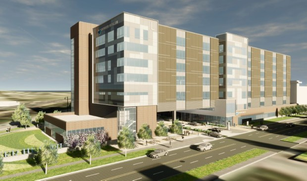 A rendering of the Outpatient Medical Center planned for Denver Health Medical Center's campus northwest of Sixth Avenue and Broadway.