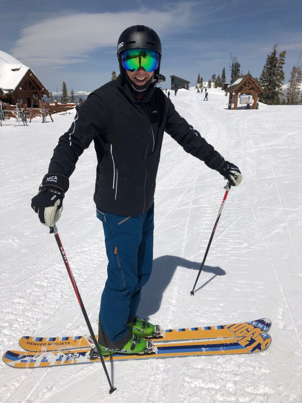 Josh Kroenke, showing off his Nuggets skis at Winter Park on Tuesday April 14, 2018. (Photo by Mark Kiszla, The Denver Post)