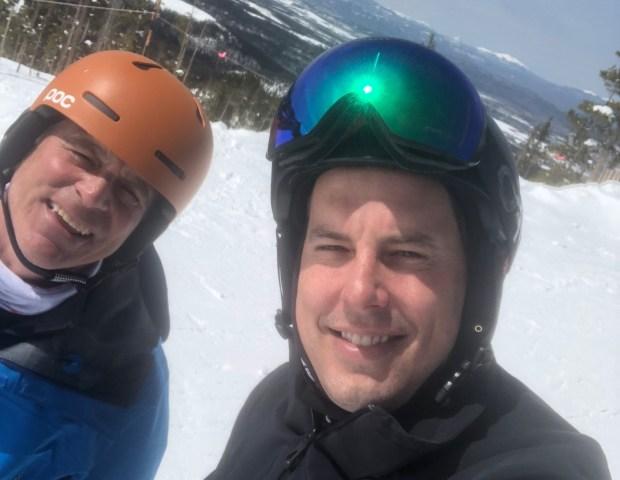 Josh Kroenke (right) and Mark Kiszla at Winter Park on Tuesday April 14, 2018.