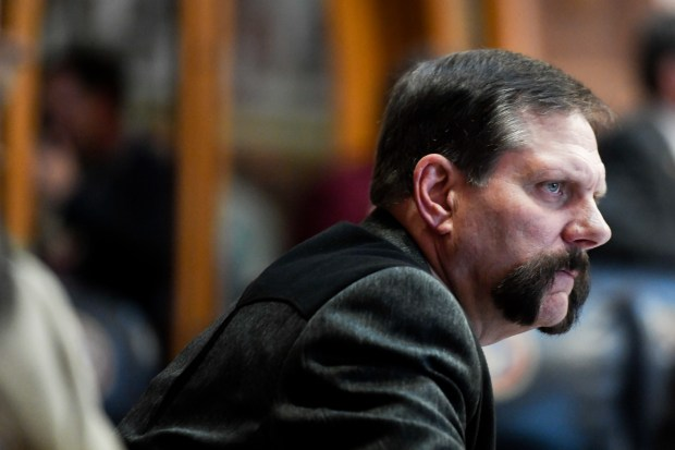 State Sen. Randy Baumgardner, R-Hot Sulphur Springs, sits at his desk before a vote at the Colorado State Capitol on Thursday, April 26, 2018. The legislative session will come to a close on May 9, 2018. Baumgardner survived one attempt by Democrats to expel him over sexual harassment allegations, but they have revived that effort after new information came to light recently.