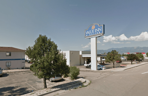 The Airport Value Inn and Suites at 6875 Space Village Drive, Colorado Springs.