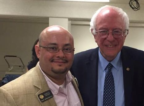 State Rep. Joe Salazar, D-Thornton, is joined by U.S. Sen. Bernie Sanders, I-Vermont.