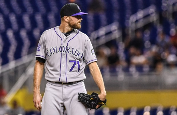 Wade Davis #71 of the Colorado Rockies pitches in the ninth inning against the Miami Marlins at Marlins Park on April 27, 2018 in Miami, Florida.