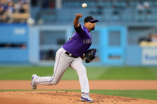 German Marquez #48 of the Colorado Rockies pitches during the first inning of a game against the Los Angeles Dodgers at Dodger Stadium on May 21, 2018 in Los Angeles, California.