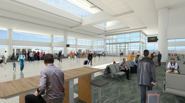 A rendering shows a new gate area planned for the west end of Concourse B at Denver International Airport.