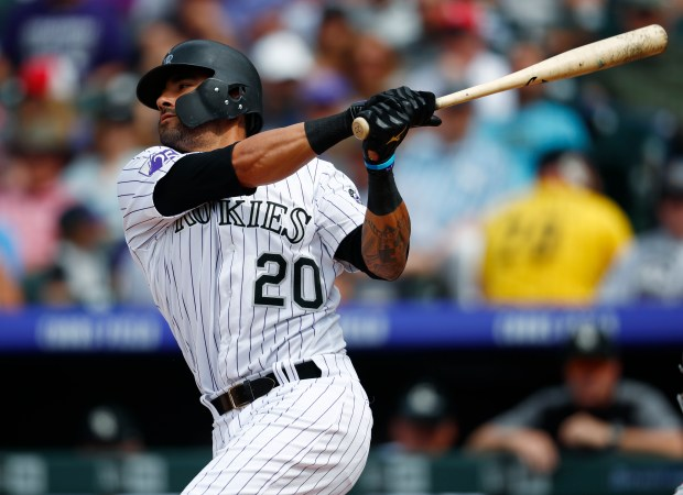 Colorado Rockies' Ian Desmond strikes out ...