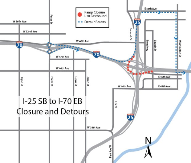 Denver News Closures: Mousetrap Highway Ramp From I-25 To I-70 In Denver To