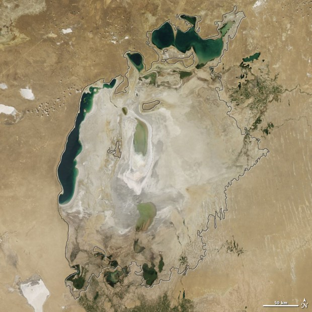 The Aral Sea in 2015. The body of water has shrunken in size dramatically in recent years due to water withdrawals from rivers that feed it.