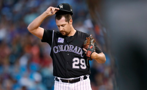 Colorado Rockies relief pitcher Bryan Shaw ...