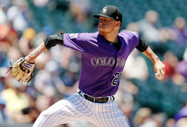 Colorado Rockies starting pitcher Kyle Freeland delivers a pitch to New York Mets' Brandon Nimmo in the first inning of a baseball game Thursday, June 21, 2018, in Denver.