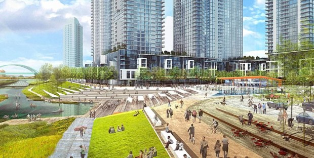 A rendering from Revesco Properties' conceptual master plan for the River Mile shows one view along the South Platte River. The company is making plans to redevelop the current site of Elitch Gardens Theme and Water Park in coming decades.