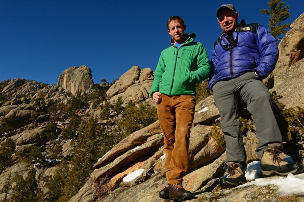 Rock climber Tommy Caldwell, left, is pictured with his father Mike near Lumpy Ridge climbing area in Estes Park, Colorado on Feb. 18, 2015.