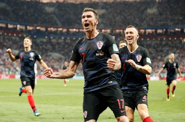 Croatia's Mario Mandzukic celebrates after scoring ...
