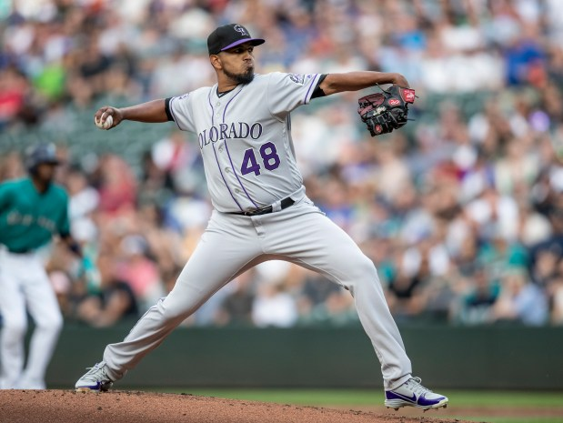 Colorado Rockies starting pitcher German Marquez ...