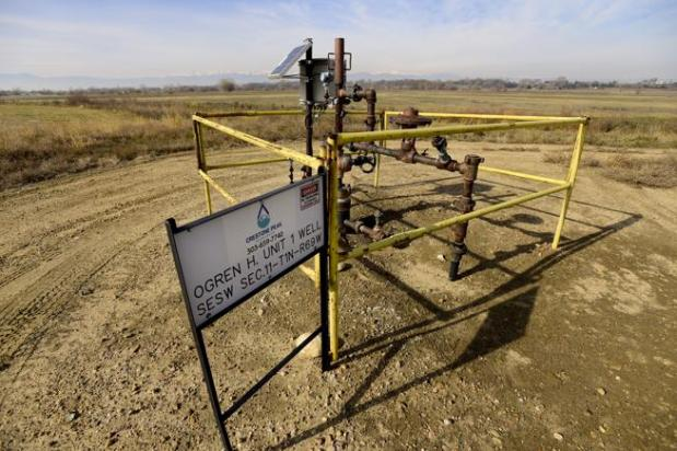 A Crestone Peak Resources well near Boulder County open space. The county on Friday Protest and Intervention to Crestone's final Comprehensive Drilling Plan for sites in east county.